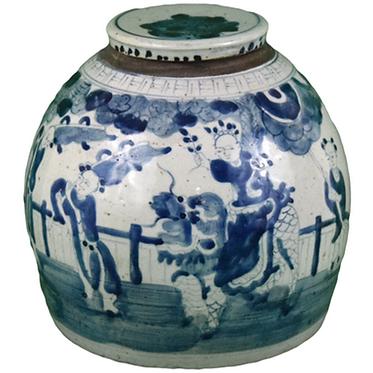 Blue & White Porcelain Small Lidded Jar - Figures