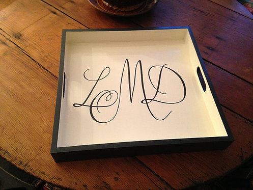 "Hand Painted Custom Monogram 18""x18"" Flat Edge Tray With Edge Painting"