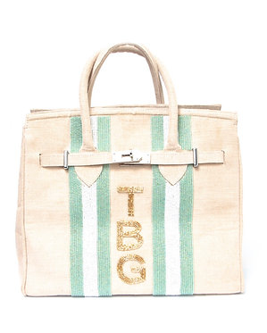 Custom Monogram Beaded Tote Handbag