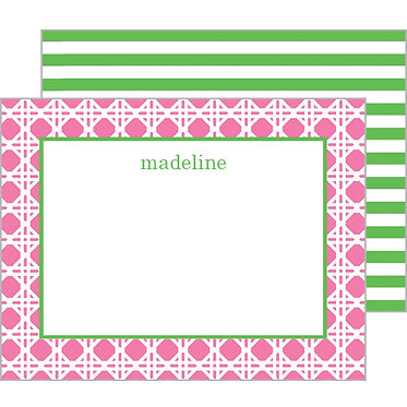 Summer Rattan Pink Personalized Flat Notecards