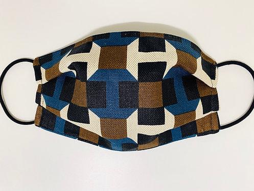 Hermès Fabric H Geometric Blue/Brown Print Face Mask