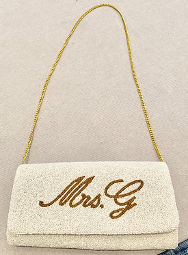 Custom Monogram Name Script Beaded Handbag With Chain Strap