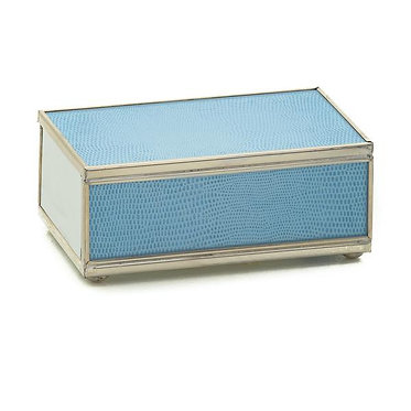 Blue Lizard Print Metal and Glass Decorative Matchbox Cover