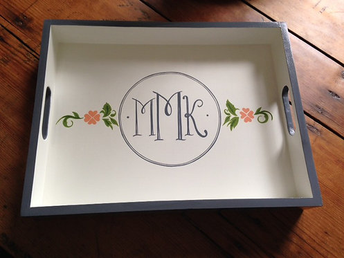 """Hand Painted Custom Monogram 18""""x14"""" Flat Edge Tray With Floral Design"""