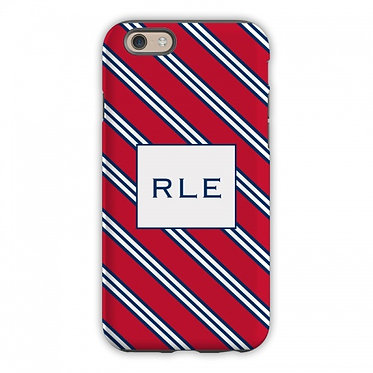 Boatman Geller Repp Tie Red & Navy Phone Case