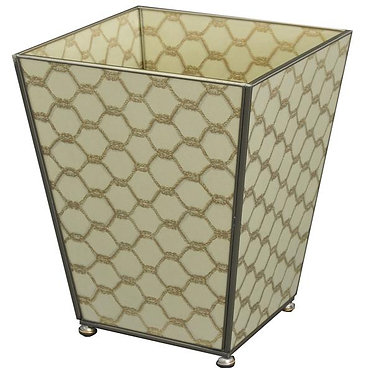 Gold Knot Metal and Glass Wastebin Wastebasket