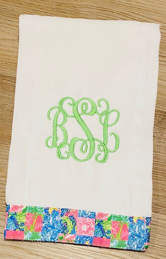 Custom Lilly Pulitzer Back Together Again Ribbon Embroidered Burp Cloth - Pers