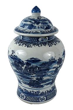 Blue & White  Porcelain Temple Jar - Landscape