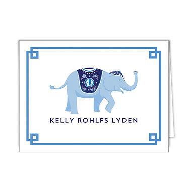 Blue Elephant Personalized Foldover Notecards
