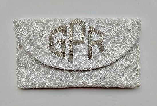 Custom Monogram Envelope Envelope Beaded Clutch Handbag With Chain Strap