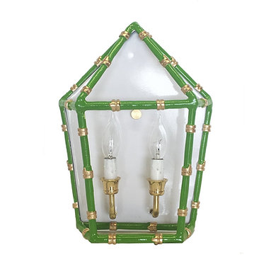 Bamboo Electric Wall Sconce Green and Gold
