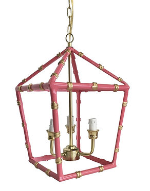 Small Bamboo Lantern In Pink and Gold
