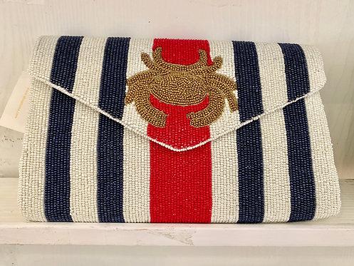 V Flap Custom Crab Stripe Clutch With Chain Strap