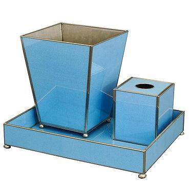 Blue Lizard Print Bathroom Vanity Set