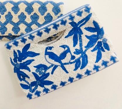 Cut Out Handle Beaded Monogram Handbag Blue Birds