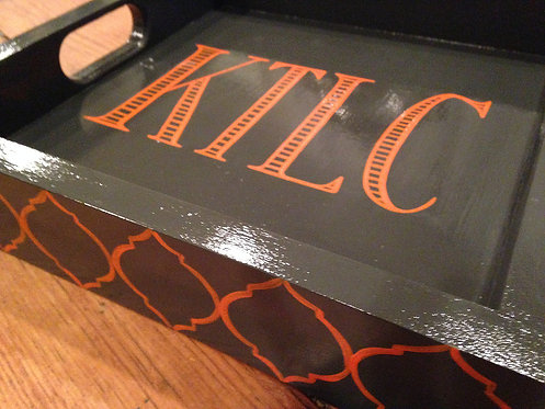 "Hand Painted Custom Monogram 12""x12"" Square Flat Edge Tray With Moroccan Edge"