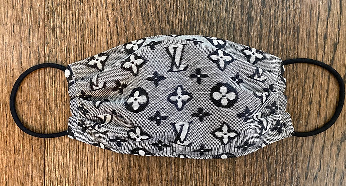 LV Monogram Print Fabric Face Mask - Multiple Sizes - Filter or Clas