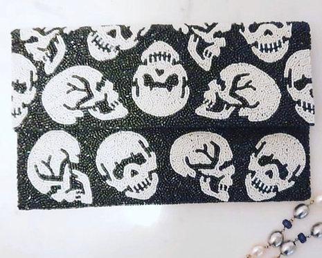 "Skull Custom Monogram Large Bead Flap Clutch Handbag 7""x10"" With Chain Strap"