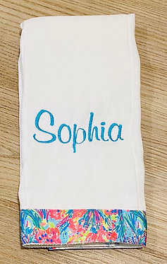 Custom Lilly Pulitzer Sea Grosgrain Ribbon Embroidered Burp Cloth - Personalized