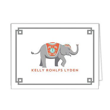 Grey Elephant Personalized Foldover Notecards