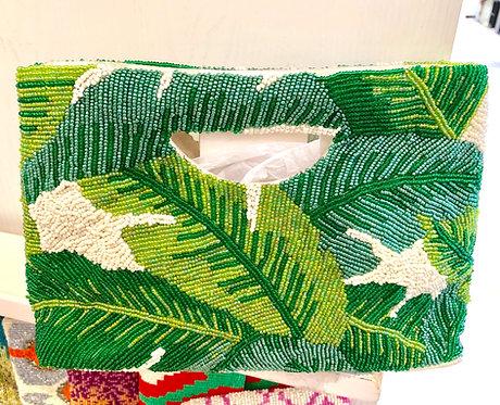 Cut Out Handle Beaded Banana Leaf Monogram Handbag