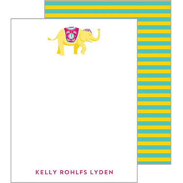 Striped Elephant Yellow Personalized Flat Notecards
