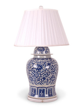 "Blue & White 30""Floral Jar Lamp"