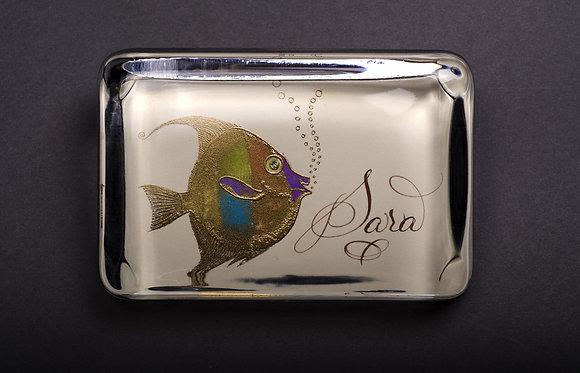 Custom Embossed Fish Monogram Name Glass Paperweight In Gift B