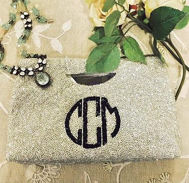 Cut Out Handle Beaded Monogram Handbag