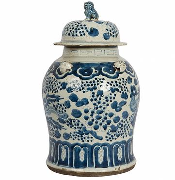 Blue & White Porcelain Ginger Jar with Foo Dog Lid - Lilly Pads