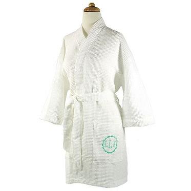 Monogrammed White Kimono Style Waffle Robe