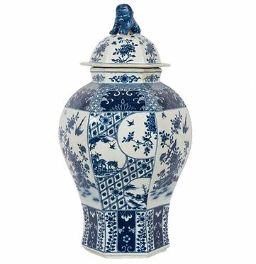 Blue & White Porcelain Ginger Jar with Foo Dog Lid