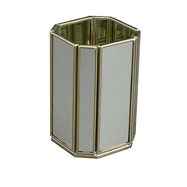 New Mirror Metal and Glass Pen Pencil Cup