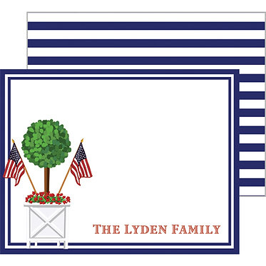 Patriotic Topiary Personalized Flat Notecards