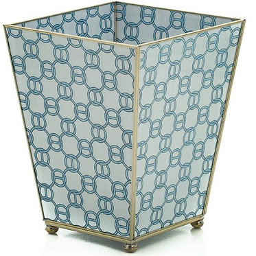 Blue Link Print Metal and Glass Wastebin Wastebasket