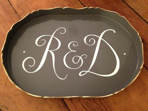 Hand Painted Custom Monogram Scalloped Edge Tray