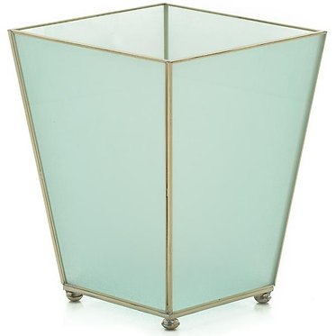 Opaque Metal and Glass Wastebin Wastebasket