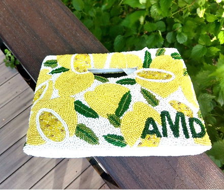Cut Out Handle Lemons Beaded Monogram Handbag