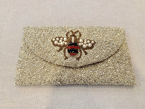 Large Flap Custom Bee Pearl Monogram Beaded Clutch With Chain Strap