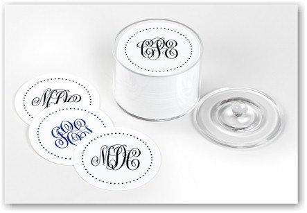 Custom Polka Dot Monogram Party Coasters