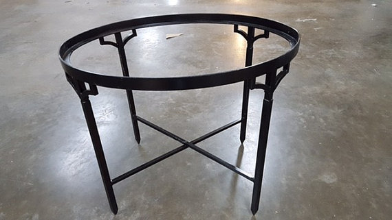 Metal Wrought Iron Tole Tray Stand