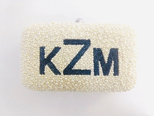 Hardsided Beaded Monogram or Name Clutch Handbag with Chain Strap