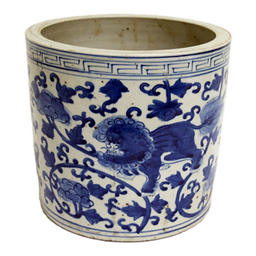 Blue & White Porcelain  Planter - Foo Dog