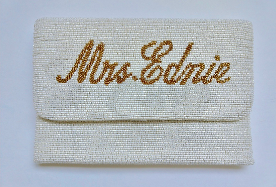 "Custom Monogram Large Bead Flap Clutch Handbag 7""x10"""