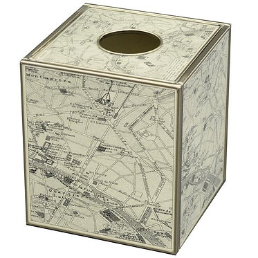 Paris Map Tissue Box Cover Made of Metal and Glass
