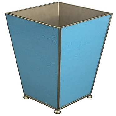 Blue Lizard Print Metal and Glass Wastebin Wastebasket