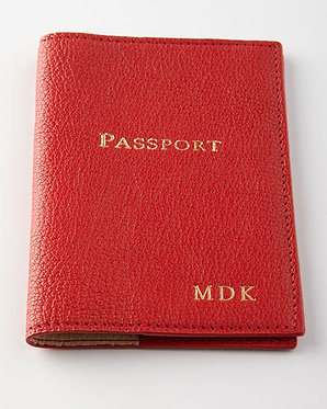 Graphic Image Leather Monogrammed Passport Cover Traditional Colors
