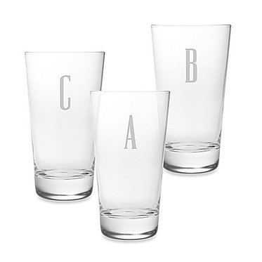 Monogrammed Hiball Luigi Bormioli Glasses, 16.25oz, SET OF 4