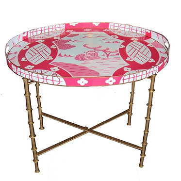 Canton in Pink Tray and Bamboo Tray Stand SET