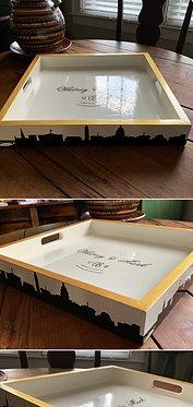 "Washington DC Skyline Hand Painted Custom Monogram 18"" Square Tray"